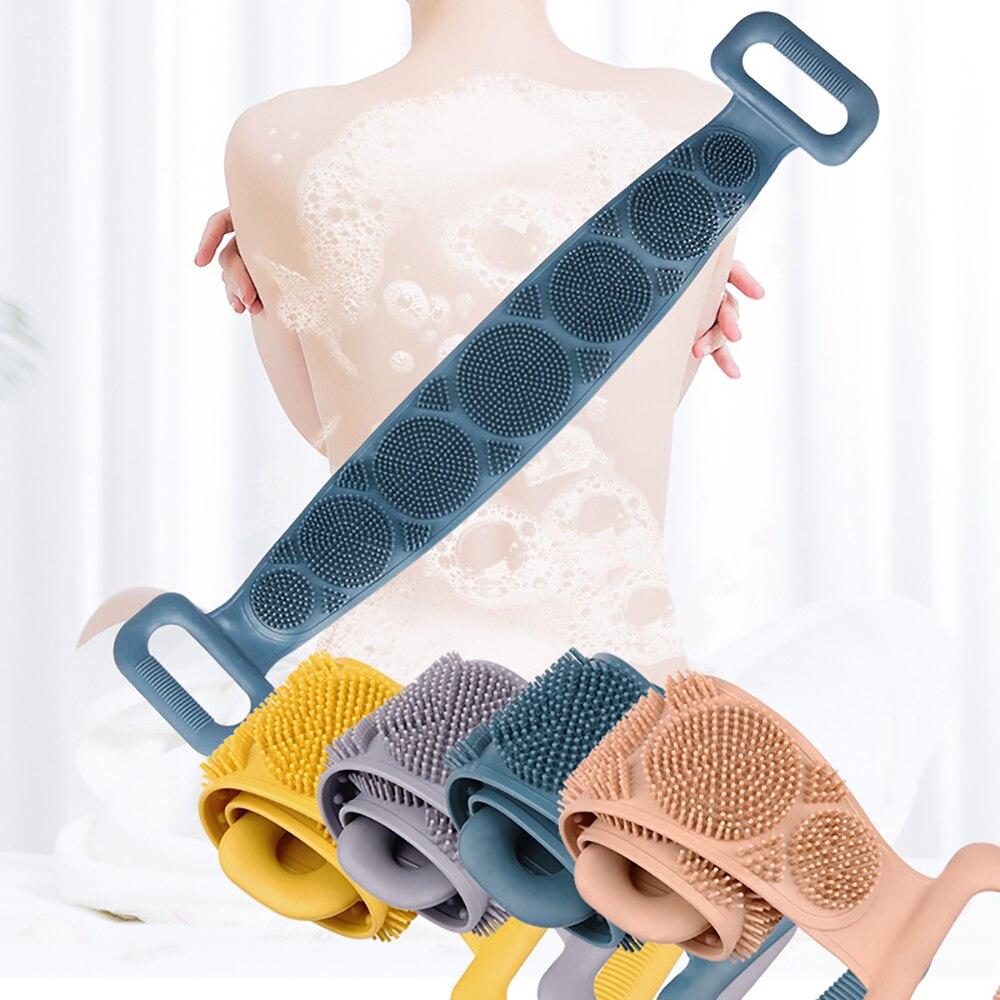 1 шт. Силикон душ щетка мягкий отшелушивающий спина скрабер ванна пояс тело чистка щетки ремешок массаж полотенце тело кожа очиститель