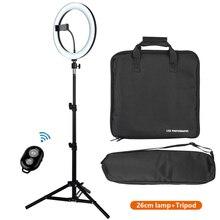 """Anillo de luz LED regulable para selfis, lámpara con trípode para teléfono, vídeo en vivo, estudio de fotografía, Kit de anillo de 10 """"con USB"""