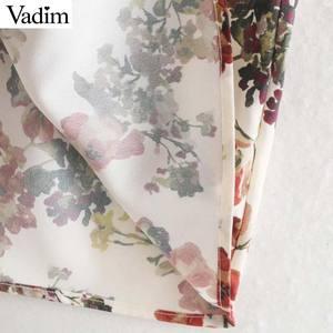 Image 5 - Vadim frauen süße floral print maxi kleid fliege schärpen langarm weibliche casual chic kleider knöchel länge vestidos QD070