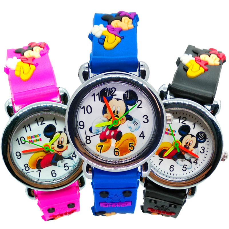 Cartoon Mickey Kids Quartz Watches Children Watch Boys Girls Clock Silicone Strap Crystal Bracelet Child Wristwatch For Kid Gift