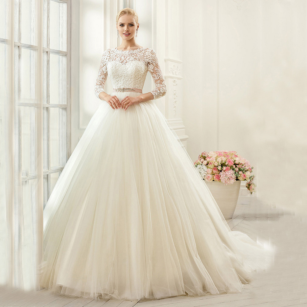 2018 Fashion Elegant Ivory Lace Illusion 3/4 Sleeves Beaded Belt Bridal Ball Gown Vestido De Noiva Mother Of The Bride Dresses