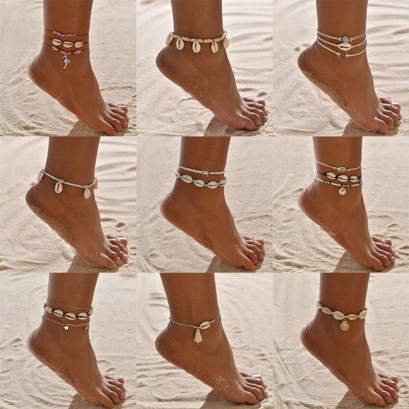 VAGZEB 2020 New Anklet for Women shell sequins Beads Geometric Bracelet Charm Bohemian Ankle Bracelet Boho Foot Summer Jewelry