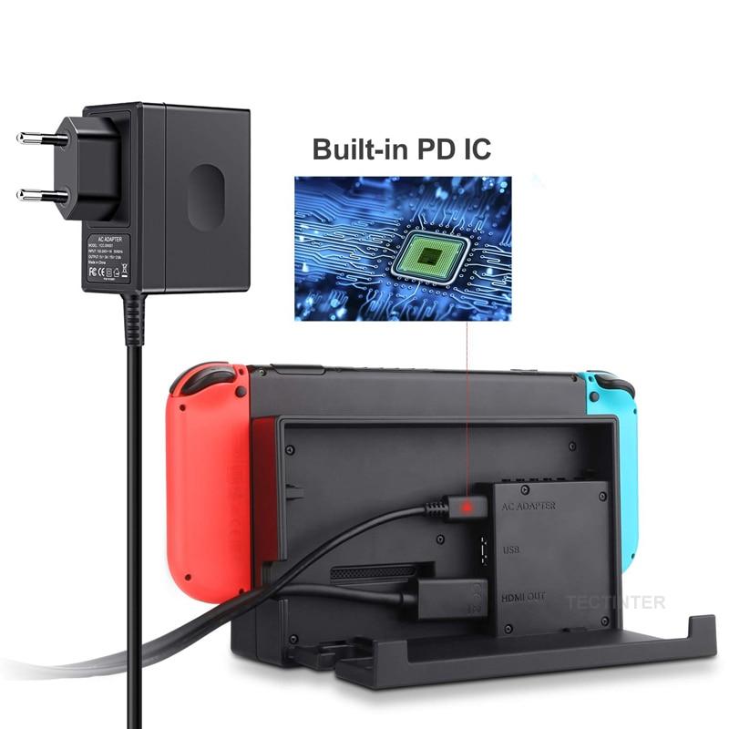 Штепсельная Вилка для ЕС и США, адаптер переменного тока, зарядное устройство для Nintendo Switch, игровая консоль NS, настенная Зарядка для путешес...