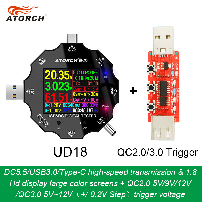 UD18 For APP USB 3.0 Type-C PD DC5.5 5521 Voltmeter Ammeter Voltage Current Meter Battery Charge Measure Cable Resistance Tester