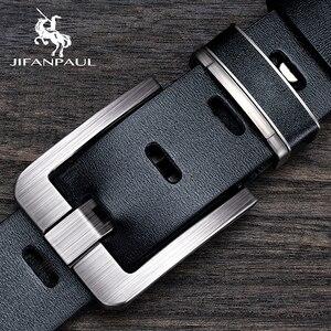JIFANPAUL Genuine Leather men belts Fashion alloy belts Buckle luxury brand jeans belts for men business belt male