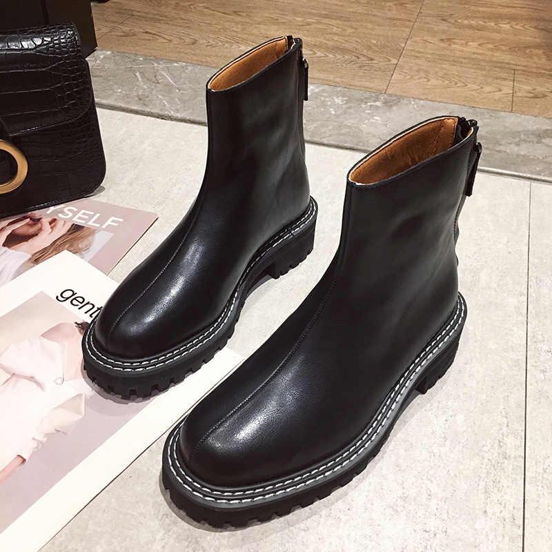 2019 ใหม่ฤดูใบไม้ร่วงฤดูหนาวรองเท้าผู้หญิงสุภาพสตรีแฟชั่นชี้ toe รองเท้าส้นสูงรองเท้าผู้หญิงหนังรองเท้าข้อเท้า
