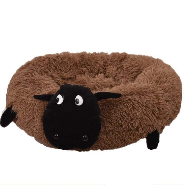 Round and Washable Pet Beds Made of Super Soft and Warm Long Plush Material for Comfortable Sleep of Cats and Dogs