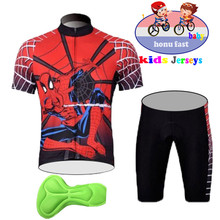 2019 new Spider-Man Kids Cycling Jersey Set Cartoon Children Clothing Summer Bike Quick Dry Bicycle Suit