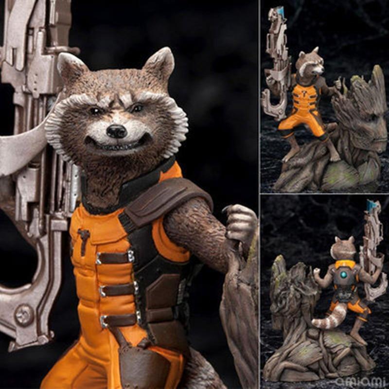 Artfx + Marvel Guardians Of The Galaxy Avengers Rocket Raccoon & Treeman Ver Action Figures, Mainan 15 Cm