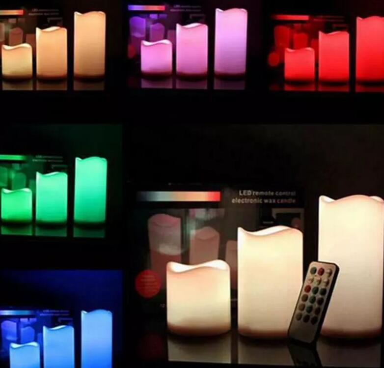 Changing 12 Color Led Electronic Flameless Smokeless Candle Lights Multi ColorRemote Control Free Shipping
