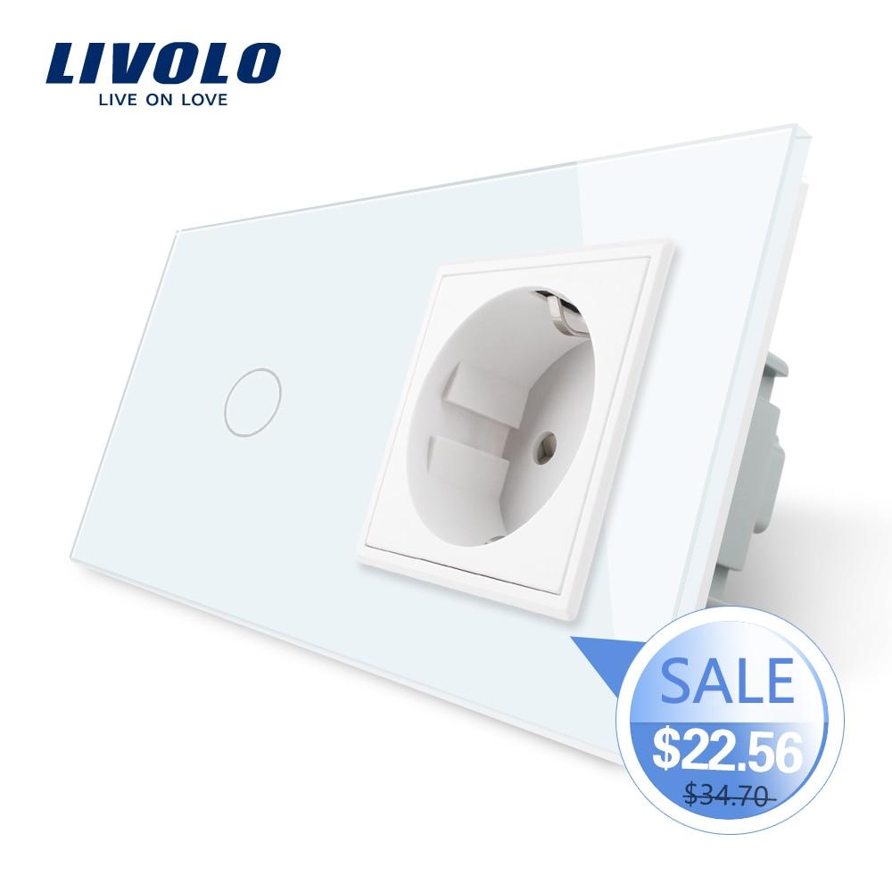 Livolo Glass-Panel Socket-Plug Light-Switch Wall Standard Crystal 16A with 220--250v