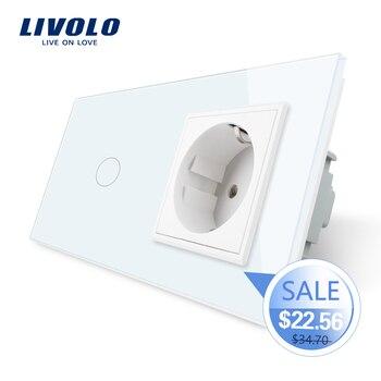 цена на Livolo EU standard Touch Switch,Crystal Glass Panel, AC 220~250V 16A Wall Socket plug with Light Switch