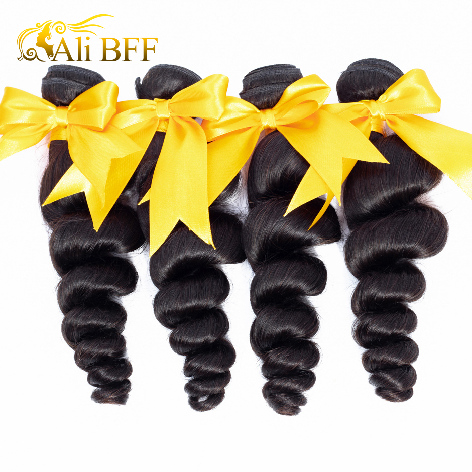 ALI BFF Hair Brazilian Loose Wave 1Bundles 3 Bundle 4 Bundles 100% Remy Human Hair Extensions Human Hair Weave Bundles