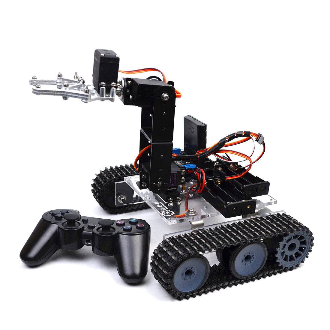 DIY Programmable Tank 4DOF Metal Mechanical Arm Robot Kit High Tech Programmable Toys (Without Battery)
