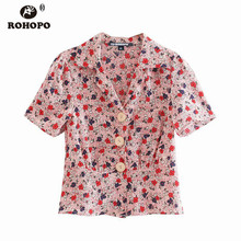 цена на ROHOPO Notched Collar Big Buttons Red Daisy Floral Blouse Semi Transparent Chic Ladies Autumn Polk Dot Top Short Shirt #9167