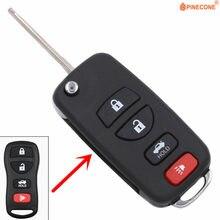 Pinecone para nissan livina x-trail gennis tiida sylphy 3 + 1 botão chave modificado flip dobrável carro chave fob escudo caso