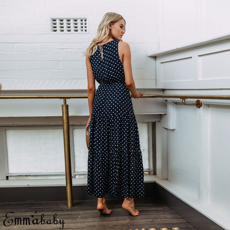 Hb7bfe958eaf6485ab3360eb69065804eu 2019 Bobo Women Dark Blue Boho Loose Sleeveless Holiday Dot Print Long Maxi Dress Evening Party Beach Dresses Summer Sundress