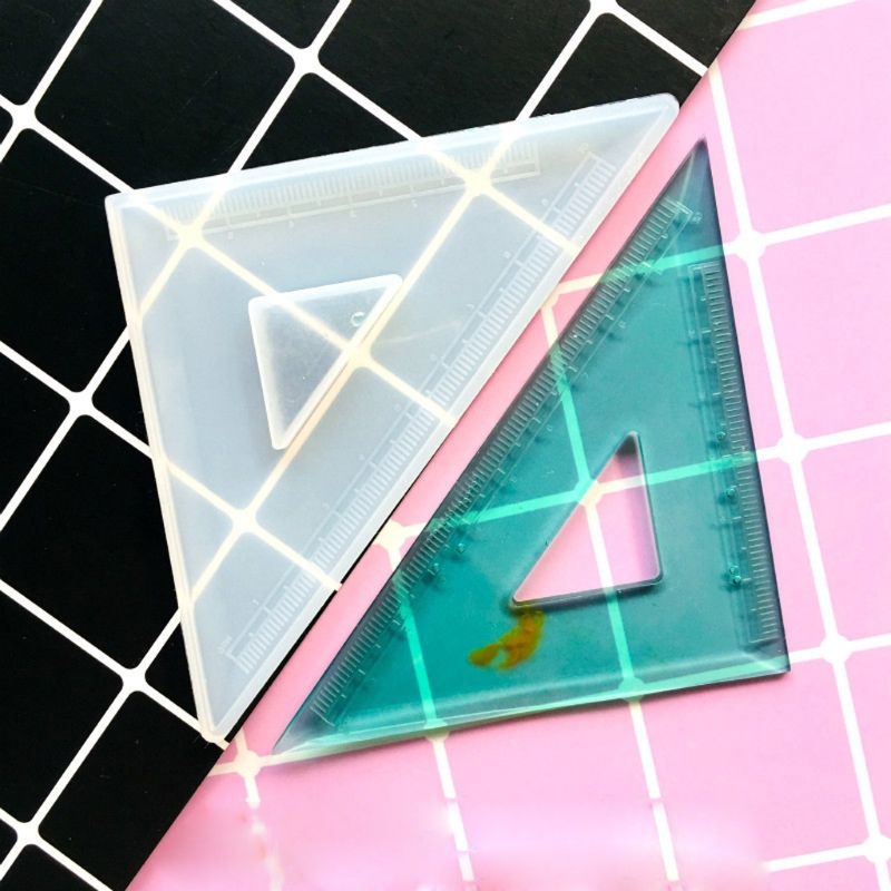 Handmade Resin Set Square triangle ruler with real flowers
