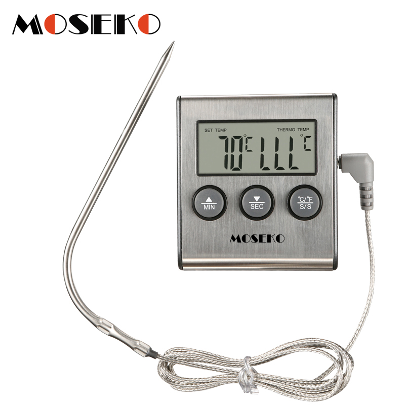 MOSEKO Digital Kitchen Thermometer Oven Food Cooking Meat BBQ Probe Thermometer With Timer Milk Water Temperature Cooking Tools-in Temperature Gauges from Home & Garden