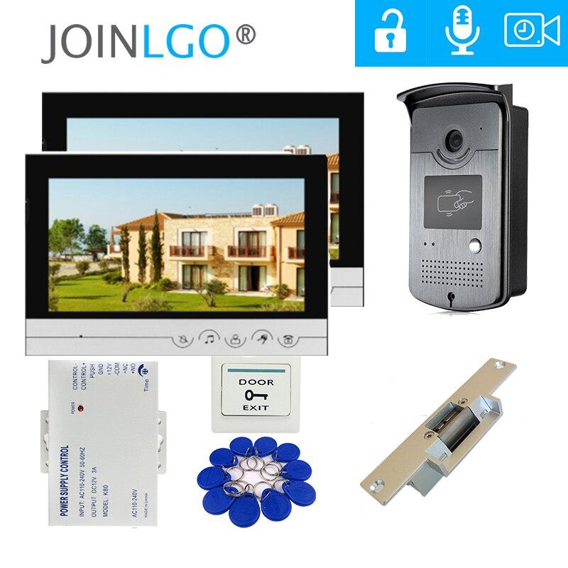 Bedrade 9 Inch Video Deurtelefoon Intercom Systeem 2 Opname Schermen Hd Rfid Deurbel Camera Elektrische Strike Lock Gratis Verzending