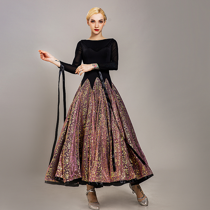 New Professional Ballroom Dance Dress For Women'S Waltz Tango Dance Wear High Quality Golden Printing Long Sleeves Dress DL5257