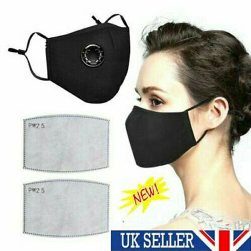 Cotton Mask With Filters PM2.5 Black Mask Dust Mask Activated Carbon Filter Windbreak Virus Antiflu Mask Care Cotton Reusable