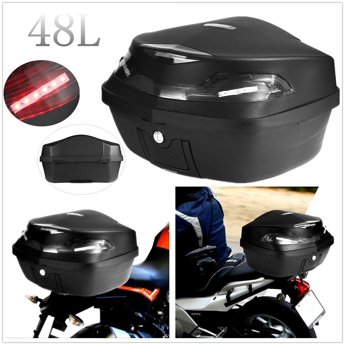 Universal 48L Motorcycle Rear Trunk Tail Storage Box Top Case W/Taillight For Honda/Yamaha/Suzuki/Harley