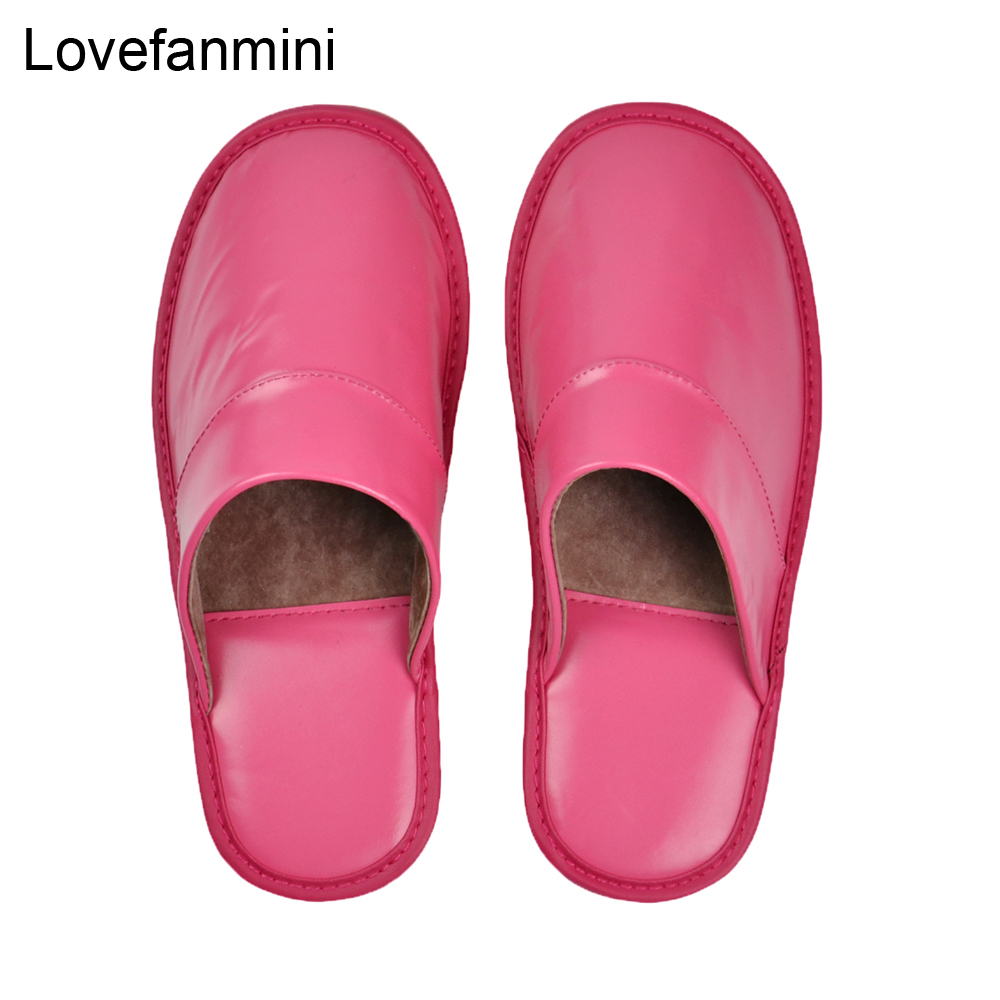 Image 5 - Genuine Sheepskin Leather slippers couple indoor non slip men women home fashion casual single shoes PVCsoft soles spring summerSlippers   -