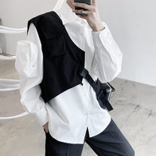 Korean style personality men fashion hip hop cargo vest Asymmetric design man vintage streetwear vest sleeveless jacket