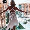 NewAsia Backless White Dress Woman Tie up V Neck Split Midi Sexy Dresses Ladies A Line Robe Casual Party Fashion Beach Vestidos 1