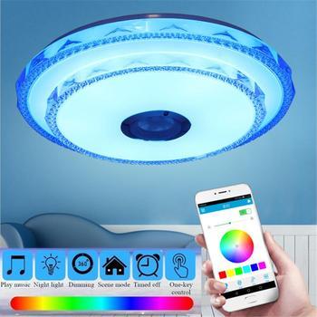 Музыка светодиодные потолочные светильники RGB затемнения приложение и настенный выключатель управления потолочный светильник спальня гос...