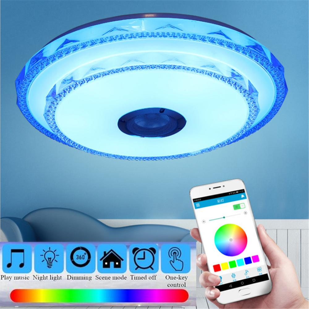 Music LED Ceiling Lights RGB Dimmable APP and Wall Switch Control Ceiling Lamp Bedroom Living room Light With bluetooth Speaker|Ceiling Lights| |  - title=