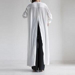 Image 5 - GALCAUR 캐주얼 스플릿 느슨한 여성용 블라우스 긴 소매 우아한 미디 셔츠 탑 여성 패션 의류 2020 조수 가을 빅 사이즈