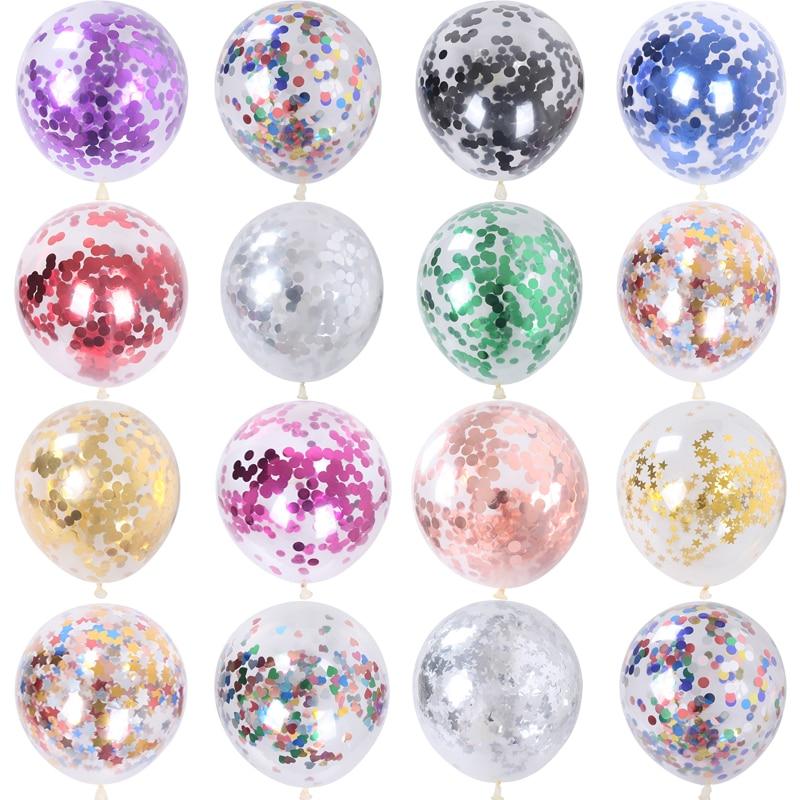 10 pçs 12 polegada ouro estrela confetes látex balões glitter claro transparente balões casamento festa de aniversário decoração bolas de hélio