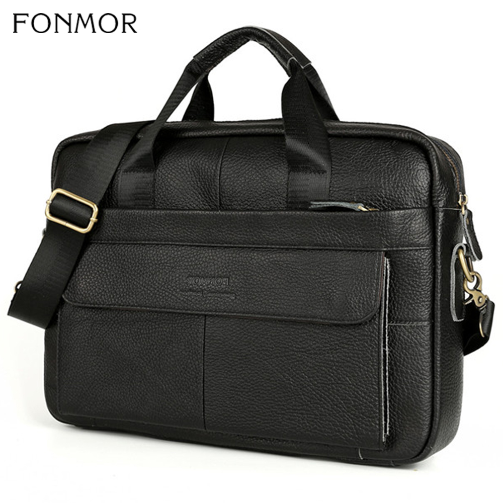 2019 Genuine Leather Men's Briefcase Vintage Business Computer Bag Messenger Bags Man Shoulder Bag Male Handbags Tote Portfolio