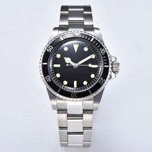 Автоматические механические часы мужские механизм 40 мм стальной корпус алюминиевый ободок светящийся ручной цепи шелковый браслет 1012
