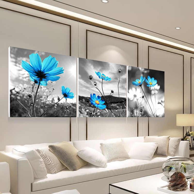 الحديثة 3 لوحة لوحات مجردة الزهور النفط اللوحة وحدات صورة جدارية قماش صور فنية للجدران لغرفة المعيشة HD طباعة