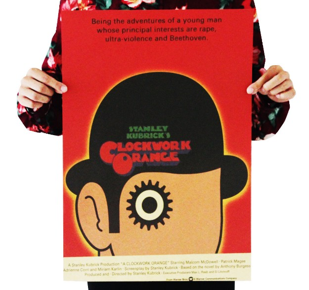 A Clockwork Orange Vintage Kraft Paper Classic Movie Poster Map School Wall Office Decoration  Art  Retro Prints