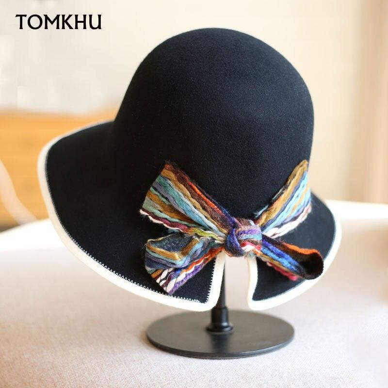 Winter Autumn Woolen Women Hat Classic Solid Color Felt Fedoras Bowknot Hats Female Lady Wide Brim Dome Top Jazz Cap Bucket Hat