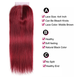Image 4 - 99J/Bordeaux Rood Gekleurde Human Hair Weave Bundels Met Kant Sluiting 4x4 Braziliaanse Straight Non remy haar Inslag Extensions X TRESS
