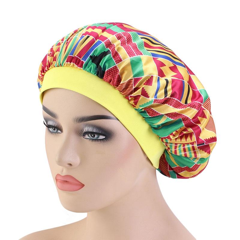 New Women Wide Band African Pattern Print Silky Bonnet Ankara Cap Soft Silky Night Sleep Hat Hair Loss Cap Ladies Turban
