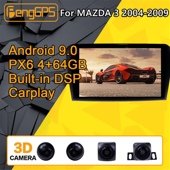 For Mazda 3 Android Radio Car multimedia Player 2004 - 2009 Stereo PX6 Audio GPS Navi Head unit Autoradio No 2din 2 DIN camera image