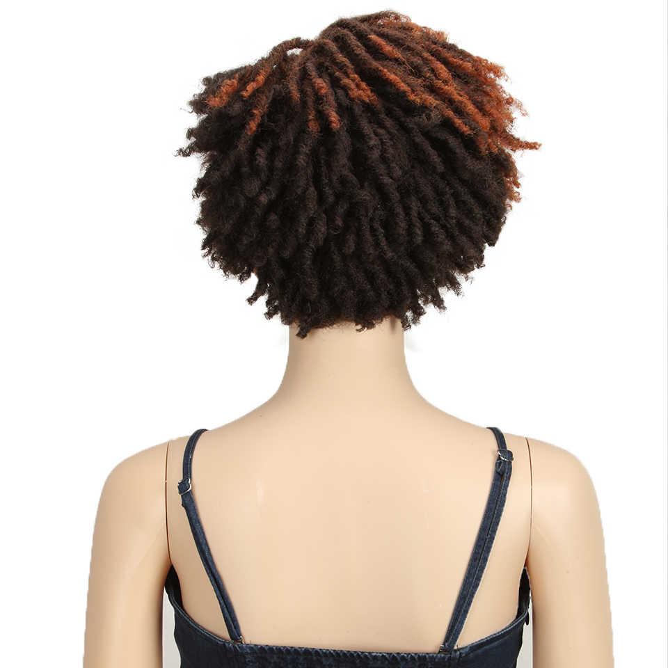 Magie 10 zoll Afro Verworrene Lockige Perücke Synthetische Kurze Perücke Mit Pony Gemischt Braun und Blonde Perücke für Schwarze Frauen