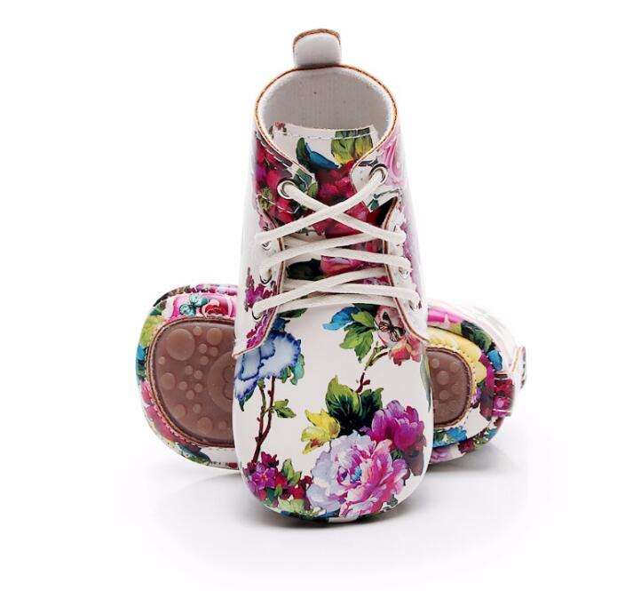 2020 Hard Sole New Floral Style Lace Up Pu Leather Baby Moccasins Shoes Baby Boys Girls Shoes First Walkers Factory Customs