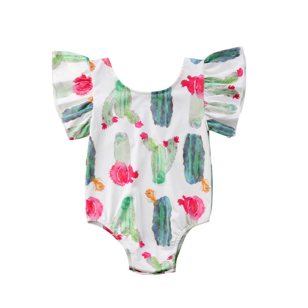 ผ้าฝ้าย Comfort ทารกสาว Romper ruffle แคคตัสพิมพ์หลวม jumpsuit 0-24M ทารกแรกเกิด Playsuit