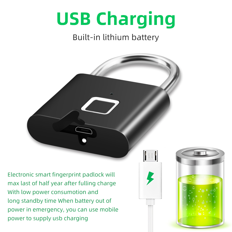 Hb7c199c51106433182e0fbe6d60a93937 Thumbprint Door Padlocks Rechargeable Door Lock Fingerprint Smart Padlock Quick Unlock Keyless USB