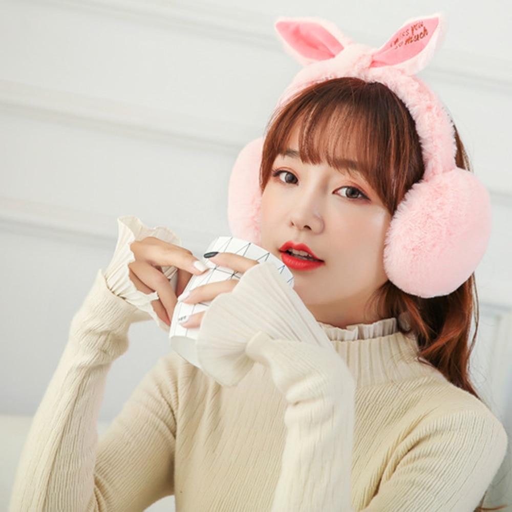 2019 New Fashion Casual Simple Winter Folding Cute Rabbit Ears Shape Plush Warm Women's Earmuffs New Arrival