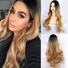 Blonde Unicorn Synthetic Long Wavy Hair Wigs for Black/White Women Middle
