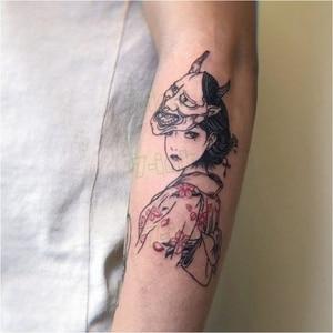 Temporary Tattoo Devil Mask Japanese Geisha Ukiyo-e Gril Body Art Water Transfer Fake Tatoo Flash Tatto Sticker for Men Women