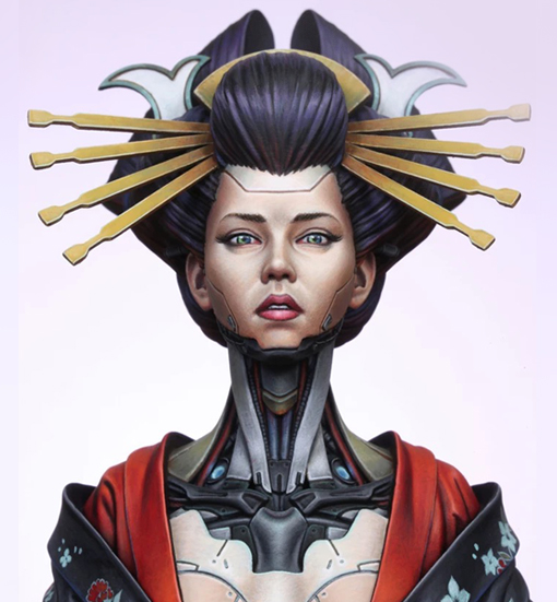 1/10 Resin Figure Mechanical Geisha Goddess Resin Soldier Bust Like Soldier Model Unmounted And Uncolored Fub002